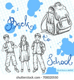 Vector linear illustration of smiling school kids, school bag on textured paper background. Hand drawn color sketch of happy school boy, girl, handwritten text Back to School.