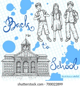 Vector linear illustration of smiling school kids, school building on textured paper background. Hand drawn color sketch of happy boy, girl, school house, handwritten text Back to School.