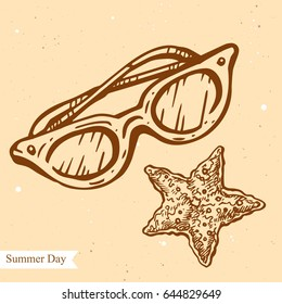 Vector linear illustration of the summer glasses with starfish isolated on paper background with abstract texture. Hand drawn sketch in retro style of eyeglasses. Image in vintage style for design.