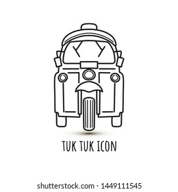 Vector linear illustration of tut-tuk rickshaw common in India, Thailand, Bangkok, Cambodia. Asian auto car or baby taxi, traditional city vehicle. For logo, icon, post card, promo, printing