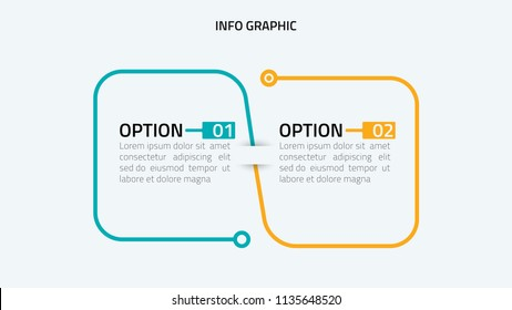 Vector linear infographic. Timeline with 2 option. Can be used for workflow layout, diagram, annual report, web design.Vector business template for presentation.