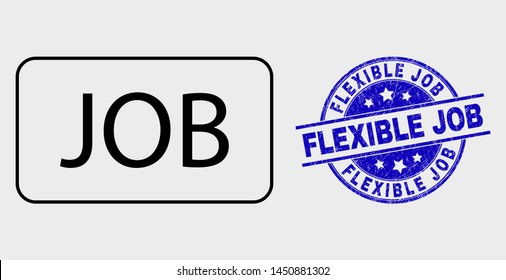 Vector linear job caption pictogram and Flexible Job seal stamp. Blue round textured seal stamp with Flexible Job phrase. Black isolated job caption icon in contour style.