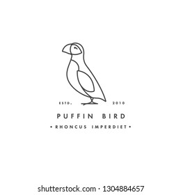 Vector linear logo design puffin bird on white background. Puffin emblems or badges