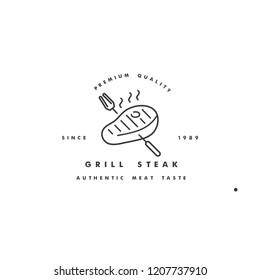 Vector linear logo design for staeak house on white background. Meat emblems or badges of steak
