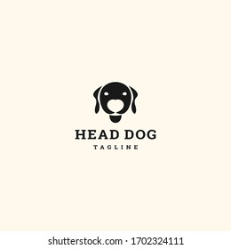 Vector linear logo design template - head dog emblem - abstract animals and symbol