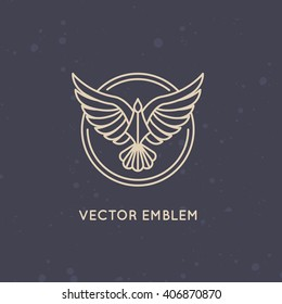 Vector linear logo design template - eagle emblem - abstract power and freedom symbol