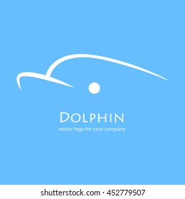 Vector linear logo of the dolphin on the blue background with text Vector logo for your company. Silhouette of the dolphin.