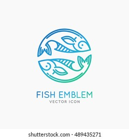 Vector linear logo and emblem -  fish abstract design elements