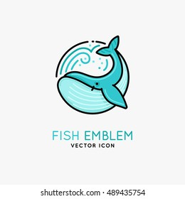 Vector linear logo and emblem -  whale - fish abstract design elements