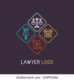 Vector linear logo and icon for lawyer