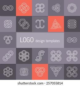 Vector linear logotypes. Infinity symbols, intertwining circles, flowers from geometric petals, triangular templates, elegant abstract symbols. Modern minimalist elements for branding and logo design