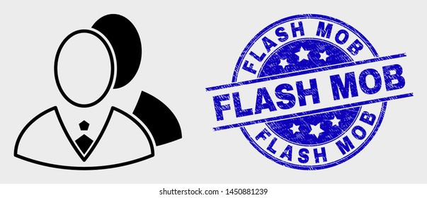 Vector linear managers icon and Flash Mob watermark. Blue round textured stamp with Flash Mob text. Black isolated managers icon in linear style.