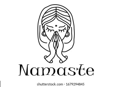 vector linear namaste icon from India is trendy ilustration