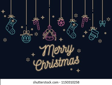 Vector linear neon design Christmas greetings card on dark background. Typography and icons for Xmas background, banners or posters and other printables