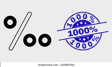 Vector linear per mille icon and 1000% seal stamp. Blue round scratched seal stamp with 1000% caption. Black isolated per mille icon in linear style.