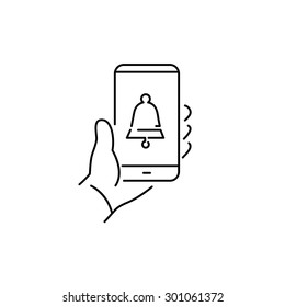 Vector linear phone and technology icons with reminder bell icon on smartphone screen holding in one hand | flat design thin line modern black illustration and infographic on white background