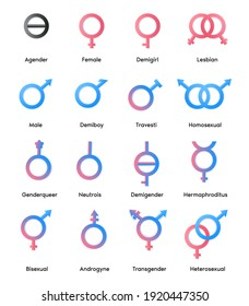 Vector linear pink and blue icons of gender symbols and its combinations.