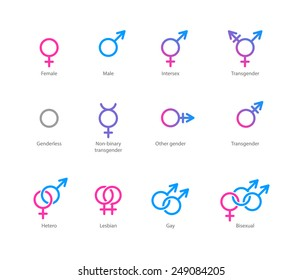 Vector linear pink and blue icons of gender symbols and its combinations. Male, female and transgender symbols.