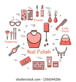 Vector linear red round concept of Nail Polish. Cosmetic, jewelry, hygiene items, clothing, shoes and other womens accessories shown by outline icons arranged on white modern web banner