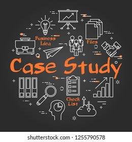 Vector linear round concept of Case Study. Data comparison and Research Method with business outline icons on black chalkboard