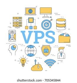 Vector linear round concept of Virtual Private Server - VPS. Isolated illustration with outline icons in blue and yellow colors. Square web banner