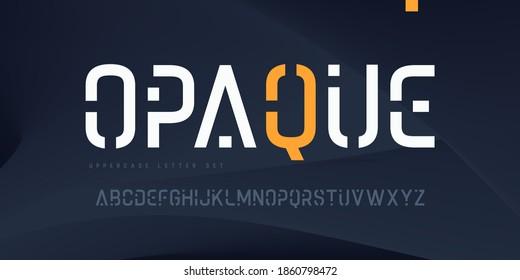 Vector linear sans uppercase letter set, alphabet, typography.