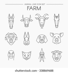 Vector linear set of farm animals.Animals design vector icons.Thin line style.