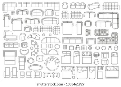 Vector linear set. Interior icons sofa, armchairs, chair, beds. Top view. Outline symbol for dining room, bedroom, office, cafe, kitchen and living room.