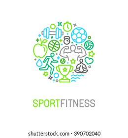 Vector linear sport and fitness logo design template - emblem in trendy mono line style for gyms and clubs - healthy lifestyle and exercising