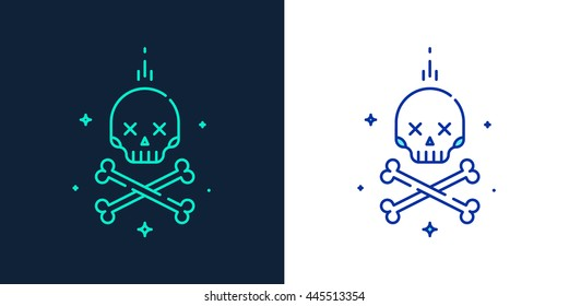 Vector linear style icon of a skull with crossbones