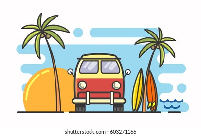 vector linear surf and bus flat background
