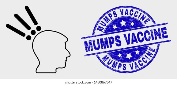 Vector linear test head icon and Mumps Vaccine seal stamp. Blue round grunge stamp with Mumps Vaccine caption. Black isolated test head icon in linear style.