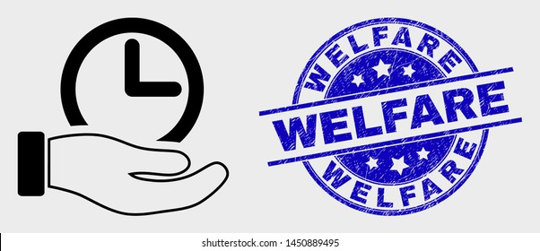 Vector linear time service hand icon and Welfare seal. Blue round distress stamp with Welfare caption. Black isolated time service hand icon in linear style.