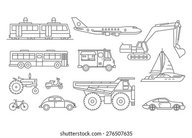 Vector linear transport icons.