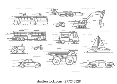 Vector linear transport icons.Speed line.