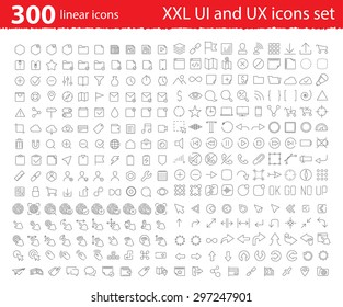Vector linear UI UX icons for web design and application