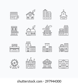 vector linear web icons set - buildings collection of flat line city design elements.