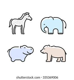Vector linear wild animals icon set, zebra, elephant, hippo, bear.