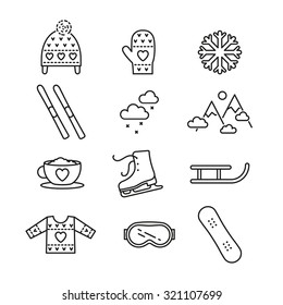 Vector linear winter activities icon set