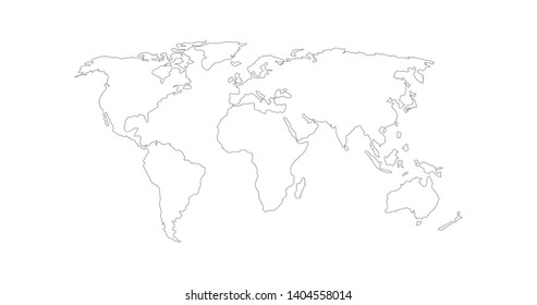Vector Linear World Map, editable stroke. vector illustration isolated on white background.