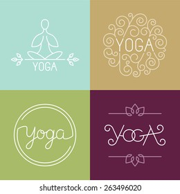 Vector linear yoga logo - icons and design elements in trendy style for spa center or yoga studio