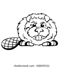 Vector lineart image cute fluffy beaver cartoon style. Hand-drawn character from the wild. Designed for children's products, books and coloring books as well as for building companies.