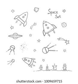 A vector line-art set of cartoonish rockets, satellites, stars and little cute aliens