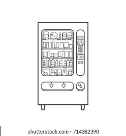 Vector lineart vending machine, outline linear illustration for business theme, office food automate isolated on white.