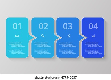 Vector lines arrows infographic. Blue template for diagram, graph, presentation and chart. Business concept with 4 options, parts, steps or processes.