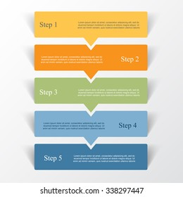 Vector lines arrows infographic. Template for diagram, graph, presentation and chart. Business concept with 5 options, parts, steps or processes.