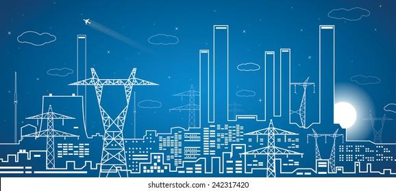 Vector lines power plant, energy lines, industrial design, infrastructure