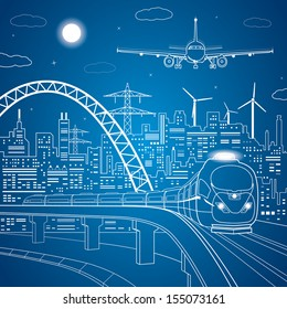 Vector lines train move on the bridge, neon city on background, plane comes in to land, vector design art