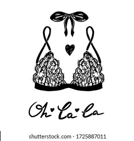 Vector lingerie illustration. Vector underwear bra design. Outline hand drawn illustration. Elegance Bra with lace and bow hand drawn sketch.