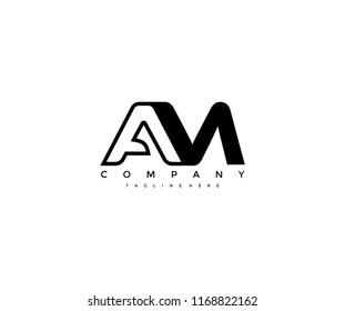 Vector Linked AM Letter Logo Design